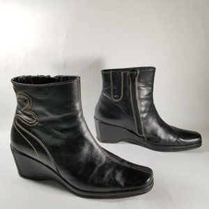 Pikolinos Black Leather Wedge Ankle Boots